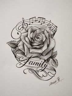 Drawn music notes tree And rose … rose Treble