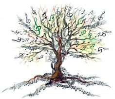 Drawn music notes muscial Was tree  for art