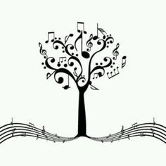 Drawn music notes tree Musical White notes isolated life