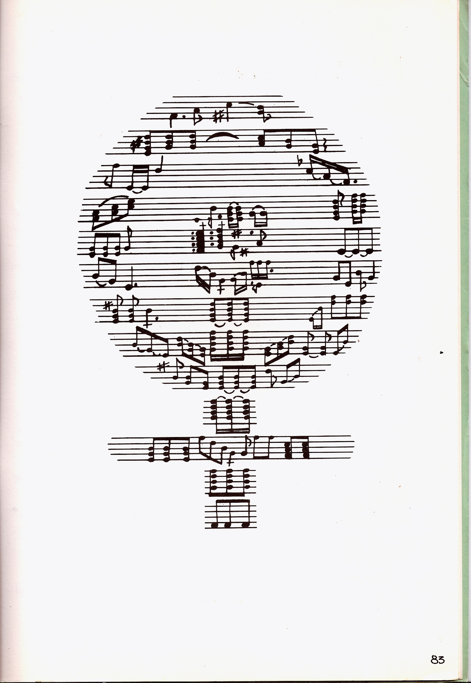 Drawn music notes woman's Staves Liberation  and A