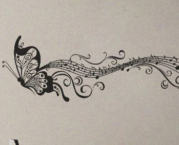 Drawn music notes woman's A598 Art Decals Butterfly Notes