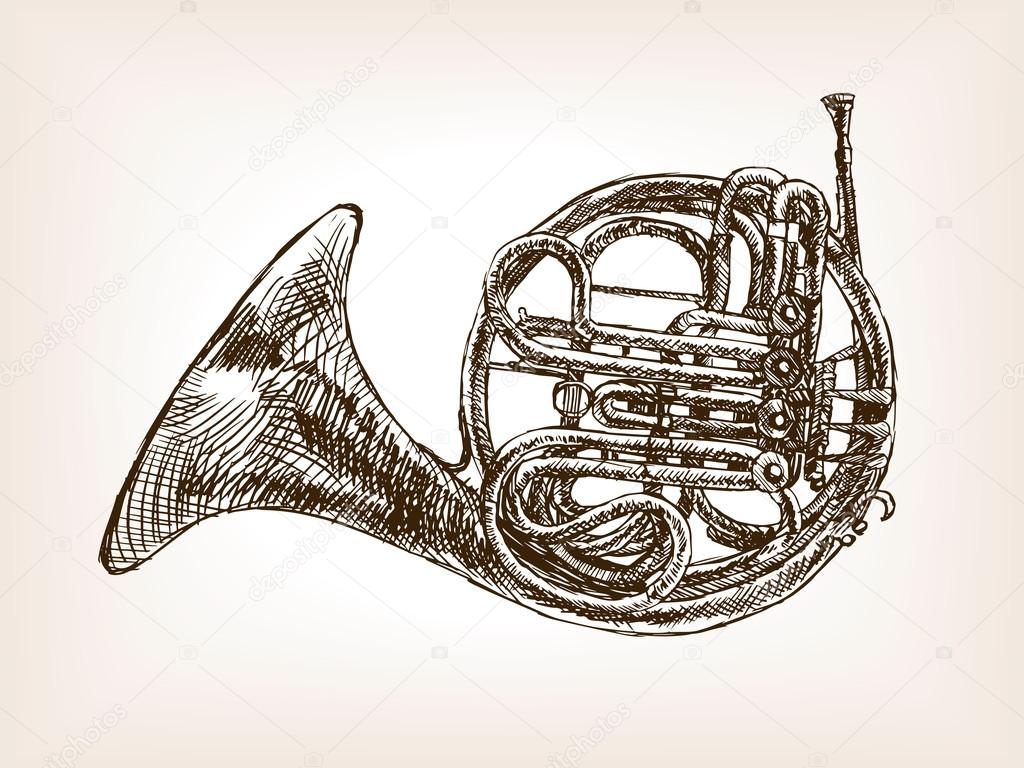Drawn music old style Style drawn hand sketch horn