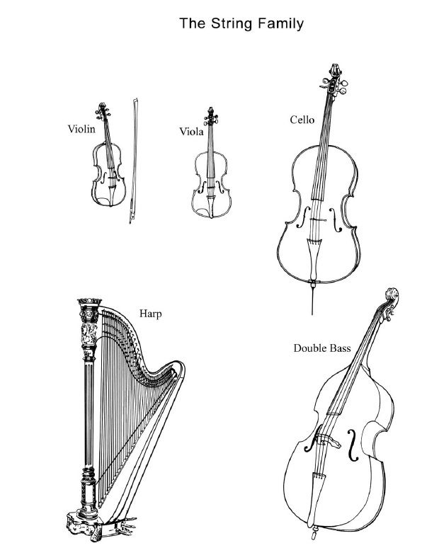 Drawn musical orchestra Instruments the world and of