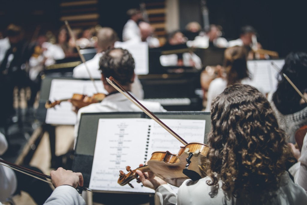 Drawn musical orchestra Of Summer Festival orchestras from