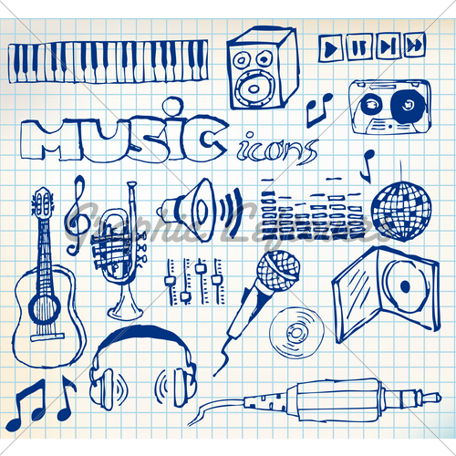 Drawn music paper Squared Of Images Stock Set