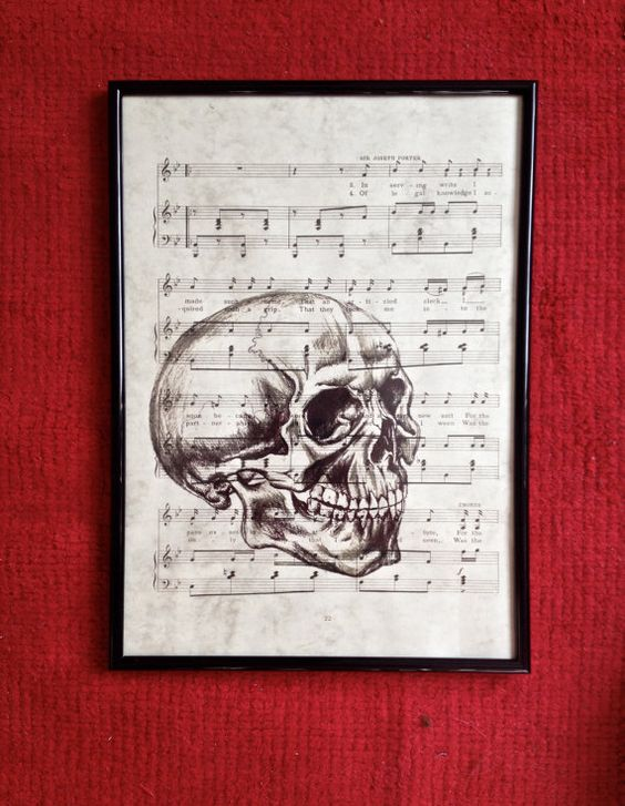 Drawn music paper Skull Drawn Vintage on by