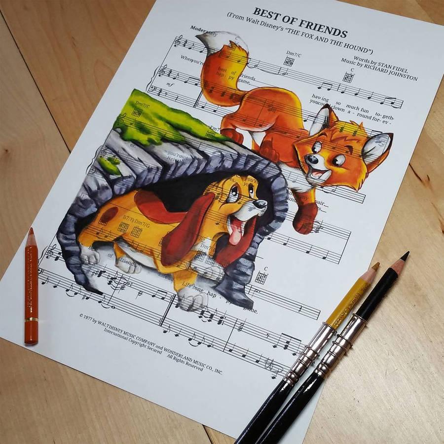 Drawn music paper Drawn music Elsa The Hound
