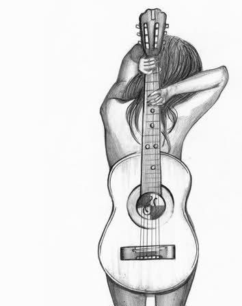 Drawn music pencil drawing 20+ Guitar on Best ideas