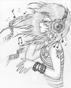 Drawn music pencil drawing LISTEN ON drawings TO dEATH