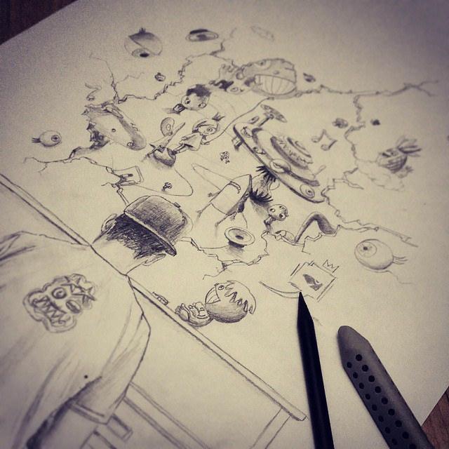 Drawn music Soon more more Pencil