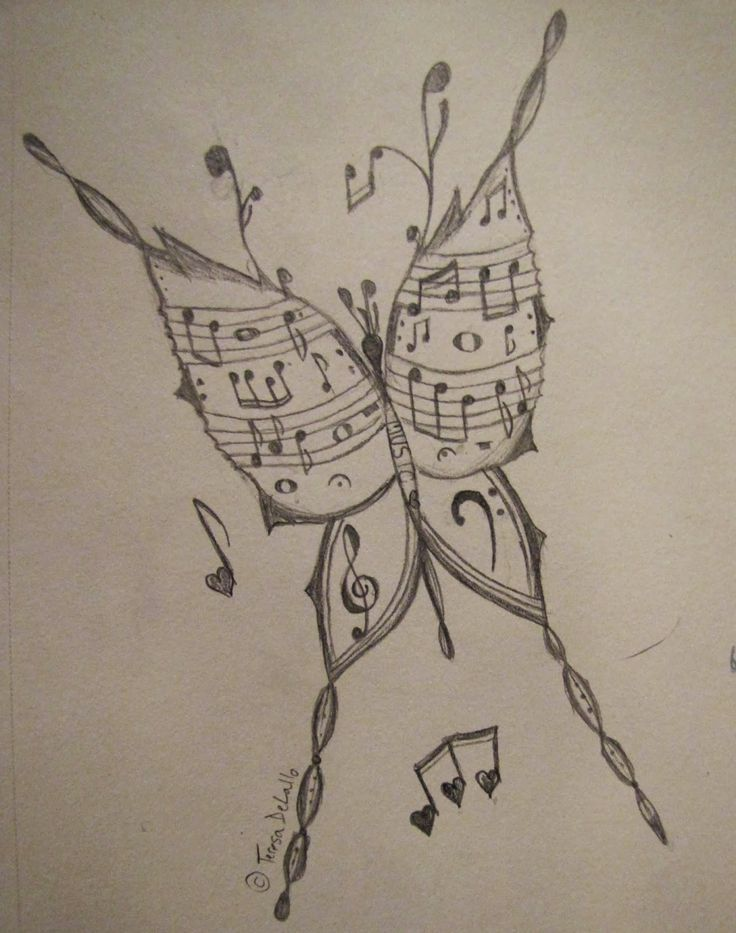 Drawn musician i love Music Best butterfly on done