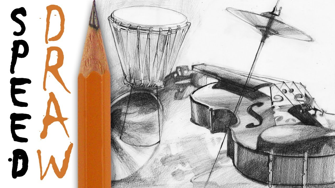 Drawn musician pencil sketch 7 YouTube instrumenty Drawing to