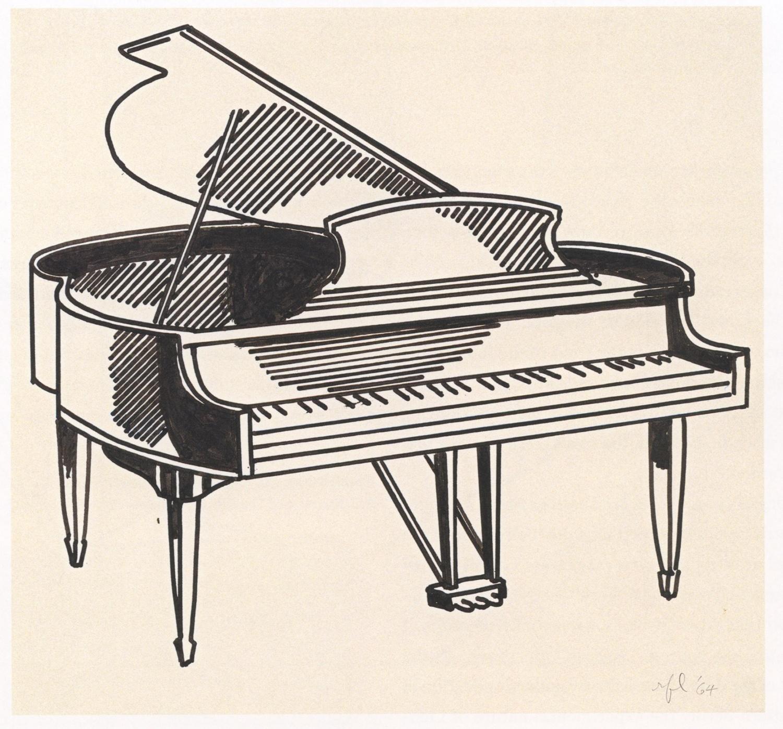 Drawn music piano EPPH  1961) (c Lichtenstein's