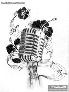 Drawn music retro microphone Akadrowzy by And Music Music