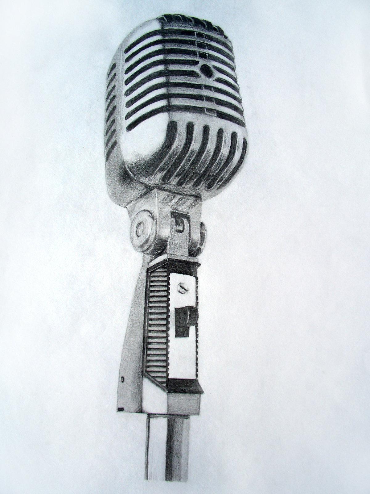 Drawn music retro microphone DeviantArt on Vintage Vintage by