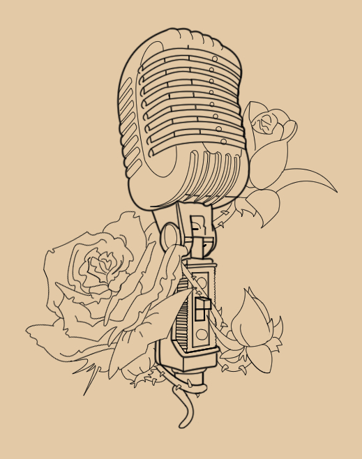 Drawn music retro microphone Pinterest Tattoos Microphone Microphone roses