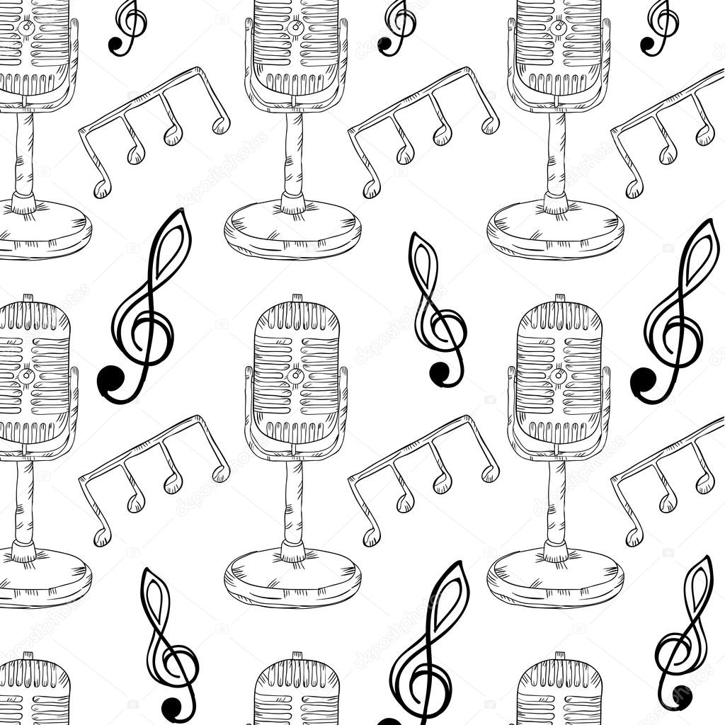 Drawn musician retro microphone Microphone microphone notes notes Retro