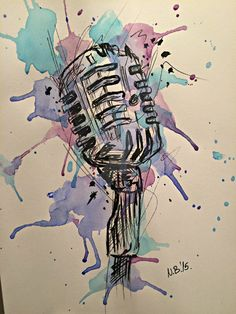 Drawn music retro microphone By Notes angels And Tattoo