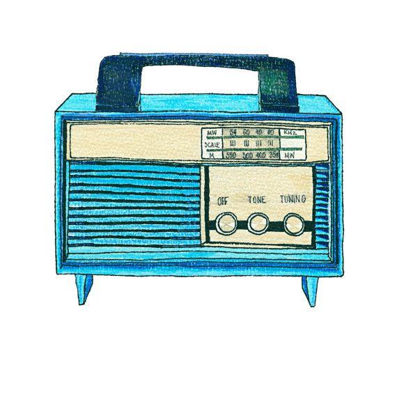 Drawn music retro radio Music about illustrations 357 Radio