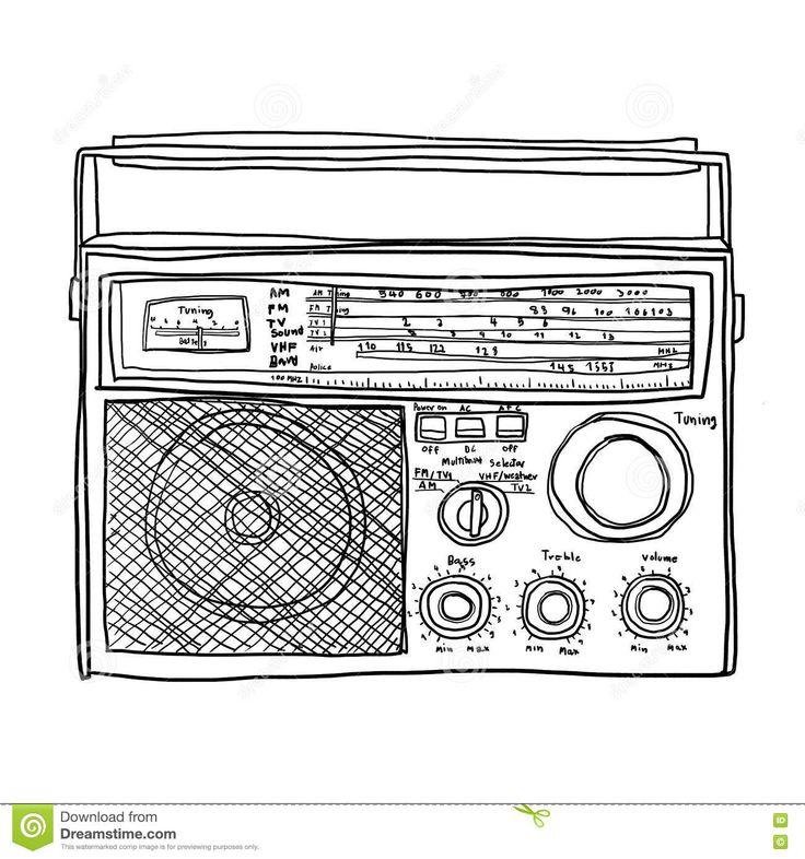 Drawn music retro radio Music about illustrations 357 cute