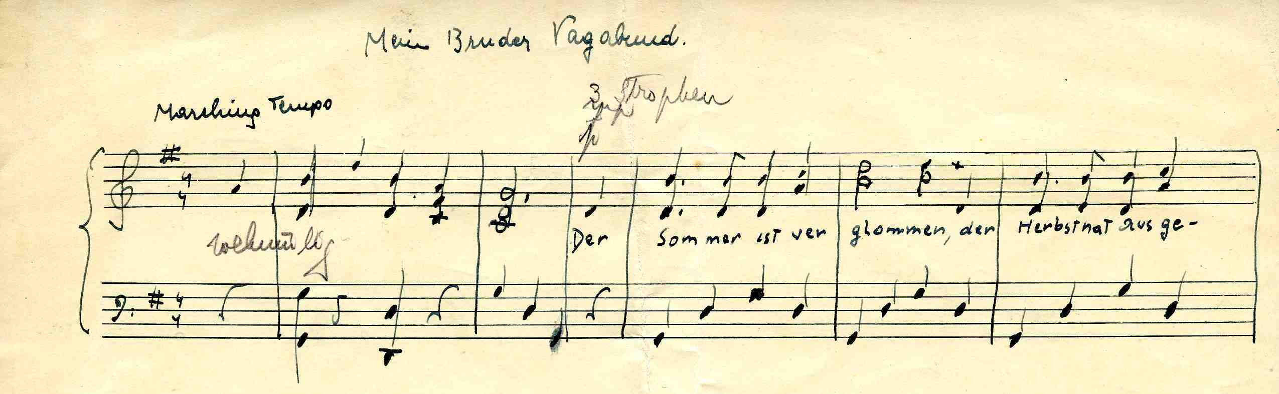 Drawn music score Cataloguing Bruder  Soyfer the