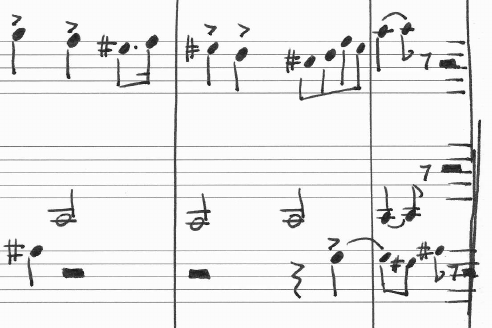 Drawn music score Of with a segments