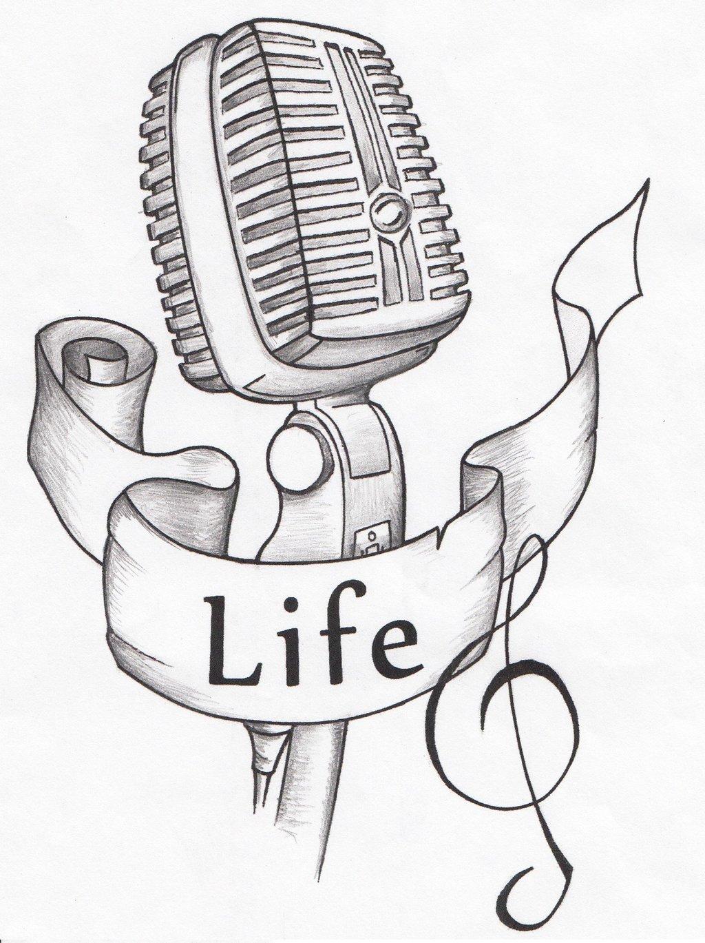 Drawn musician studio microphone Tattoo Tattoo DeviantArt Microphone by