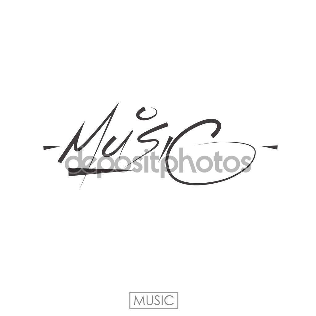 Drawn music the word Calligraphy word illustration drawn Music