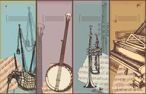 Drawn music vintage Hand Vector Musical Vintage Musical