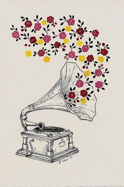 Drawn musician vintage Drawing colorful colours white phonograph