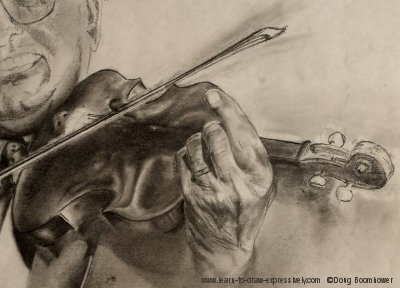 Drawn violin doodle Kolynchuk preliminary drawing Pencil Violin