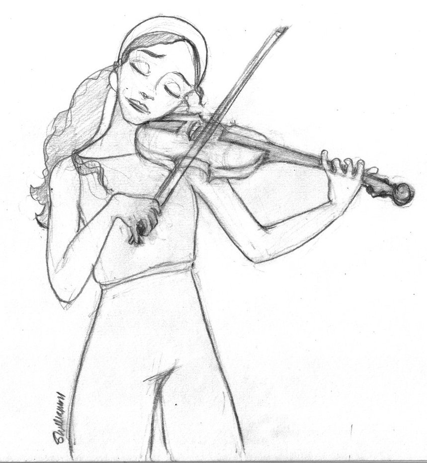 Drawn music violin playing Violin on the leabharlann Fire