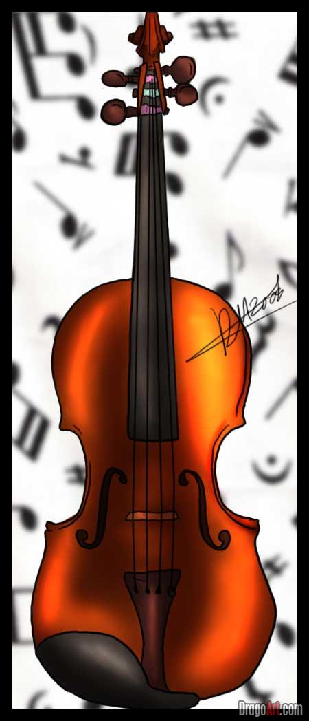 Drawn violin color Instruments a To by draw