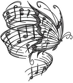 Drawn music wing DrawingsThings Pinterest DrawButterfly  key