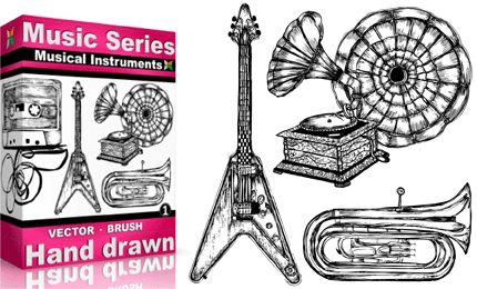 Drawn musical Brushes & 1 Vol Musical
