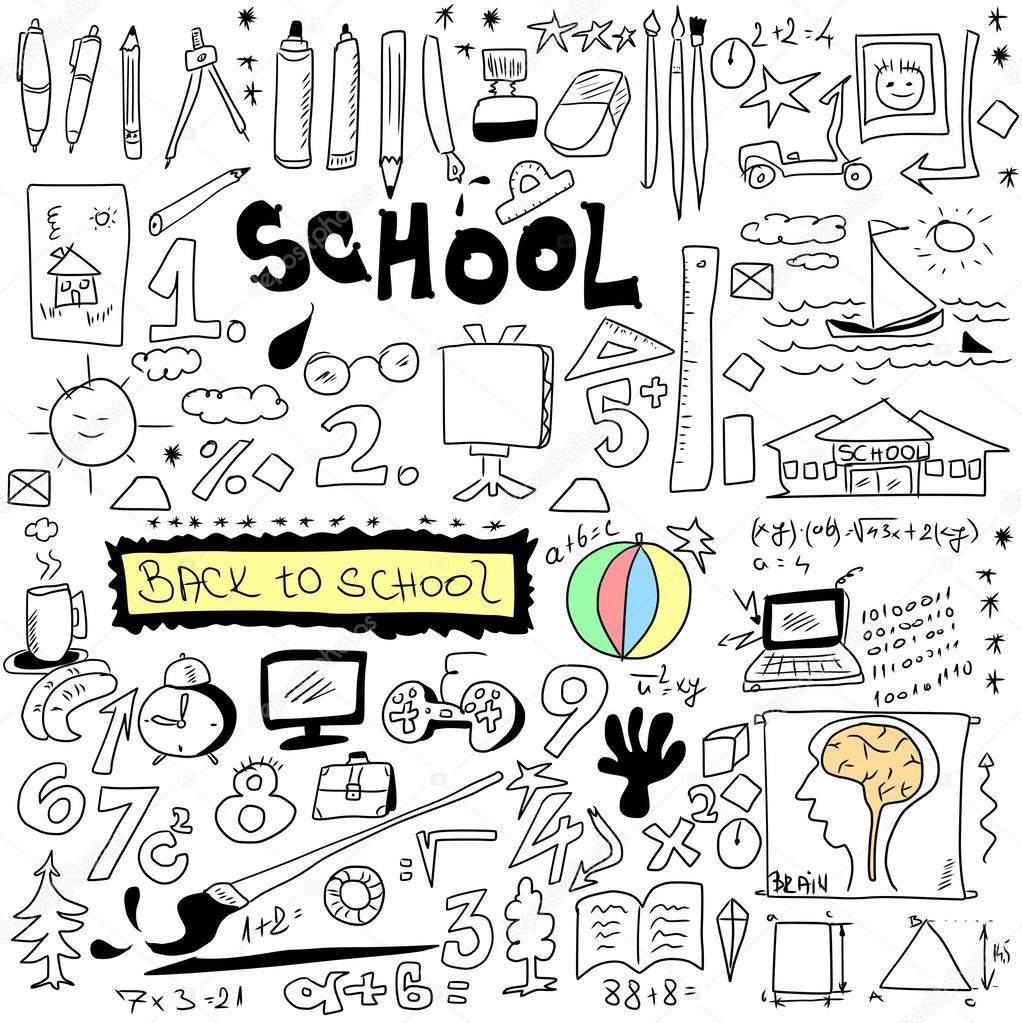 Drawn background school doodle Background drawn hand back school