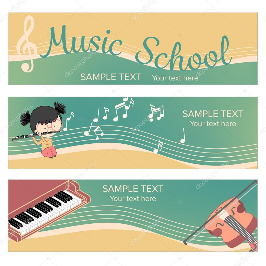 Drawn musical banner Web template  for Vector
