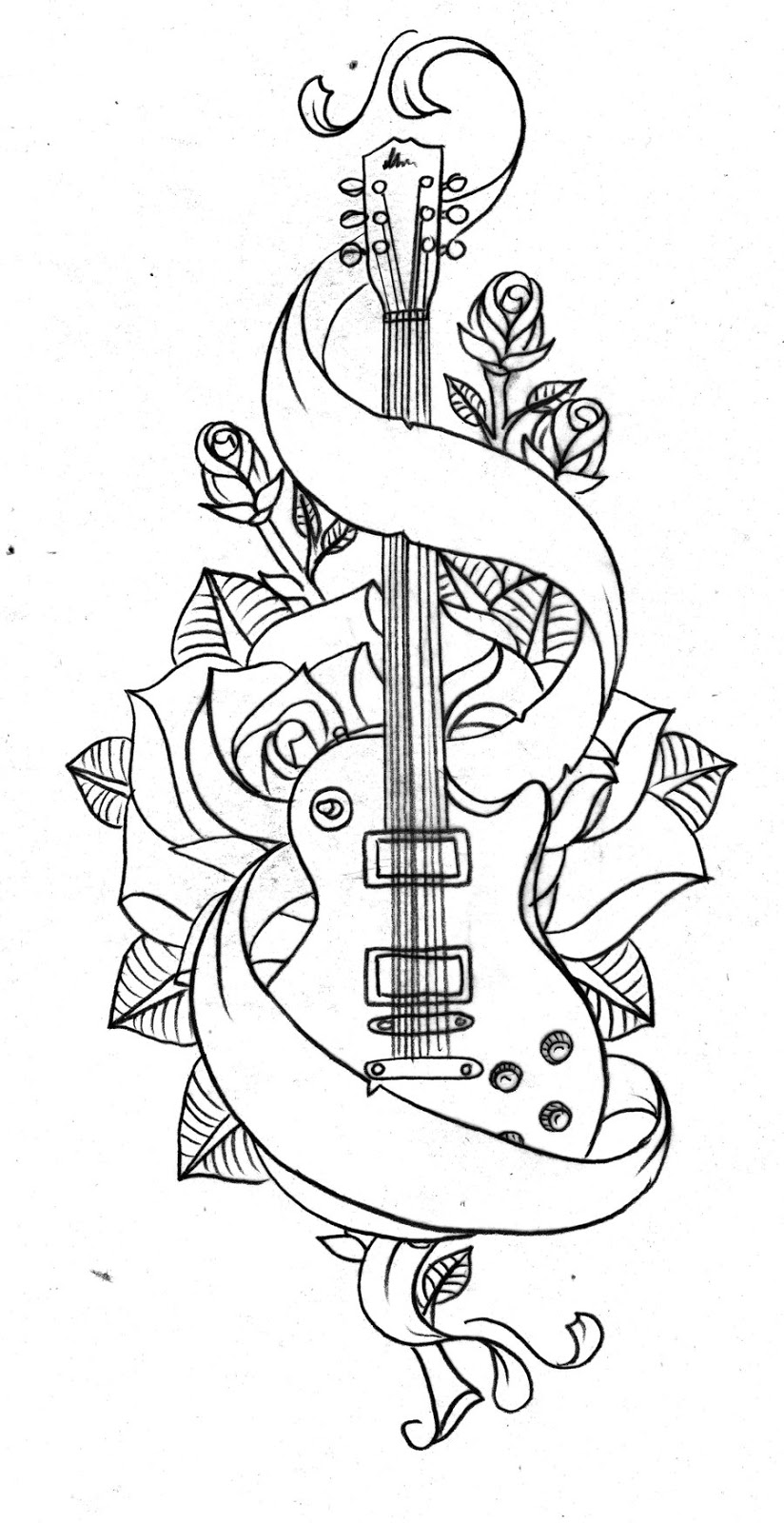 Drawn musical banner Tattoos Music art musicical guitar