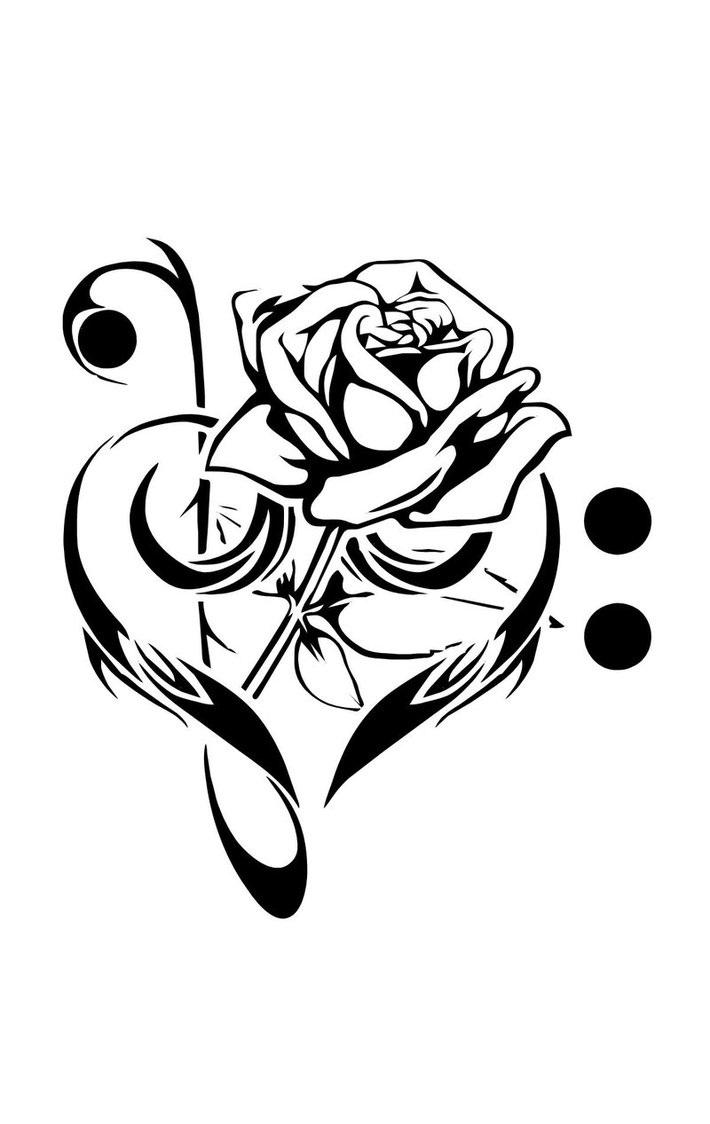 Drawn pice rose Music Drawings Designs library Heart