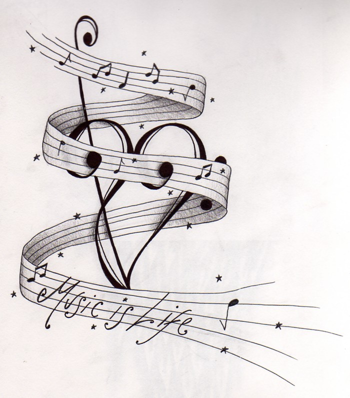 Drawn musical lover To clef tattoo and treble