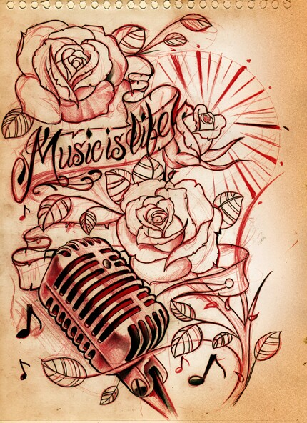 Drawn musical old style Mic shades of ancient with