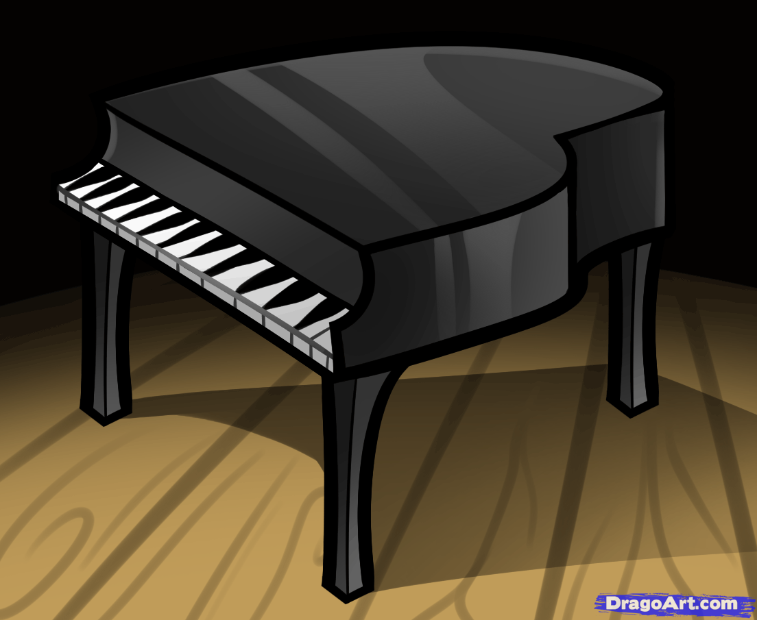 Drawn piano black and white Draw to Step Musical by