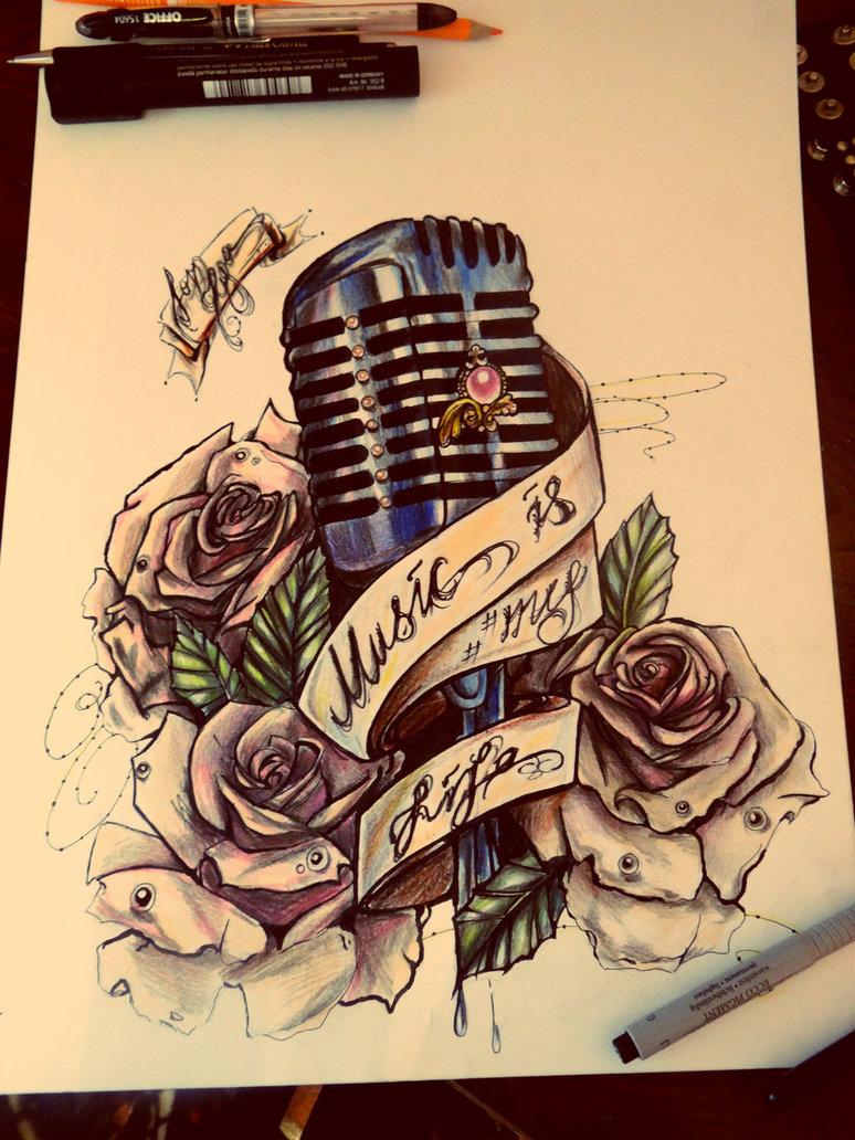 Drawn musical ribbon  microphone Beautiful tattoo oldie
