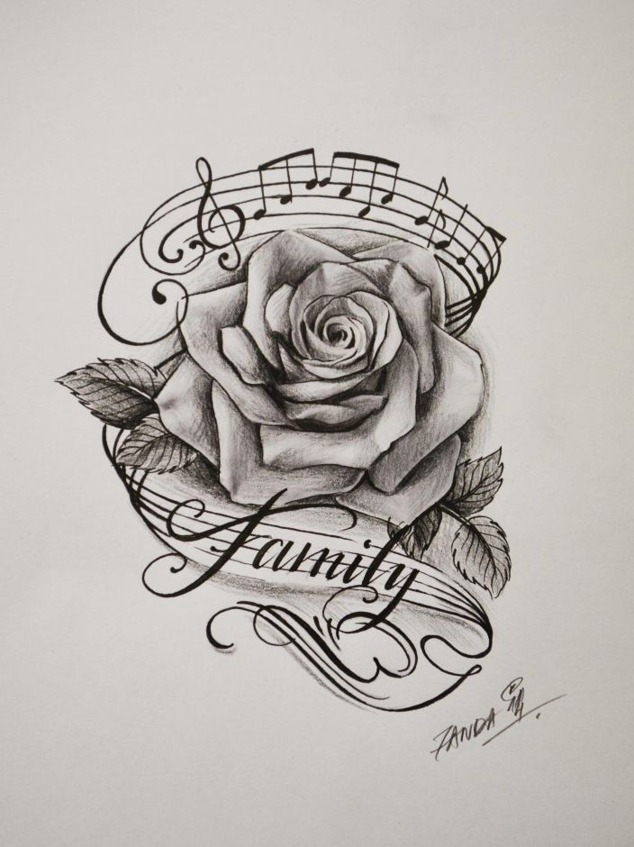 Drawn musical the word Music tattoo for best result