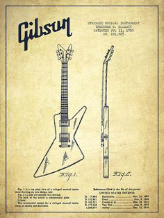Drawn musician 50's Gibson GUITARS Vintage Ad Guitar