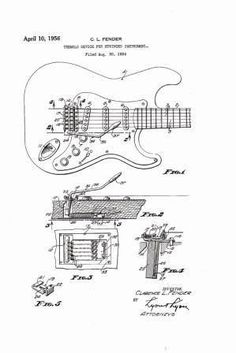 Drawn musician 50's Classic 1950's Fender GuitarsPatents Guitars