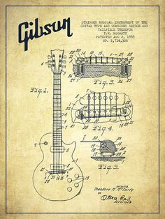 Drawn musician 50's Gibson GUITARS 1955 Ad Paul