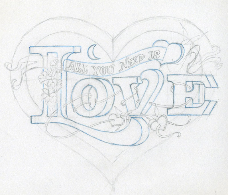 Drawn hearts pencil drawing Learn Share & HERE Abstract