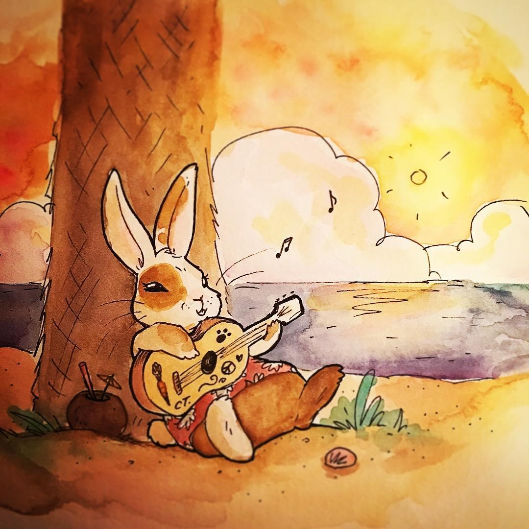 Drawn musician bunny Beach Beach Bunny #art