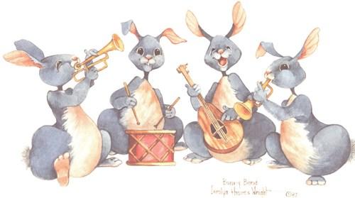 Drawn musician bunny Bunny lithograph 4x9 4x9 on